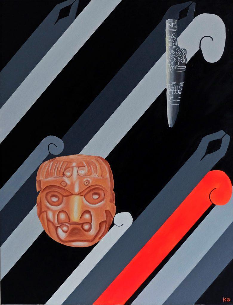 Chavín de Huántar Arte contemporáneo Valencia Karlo Grados pintura al óleo Perú