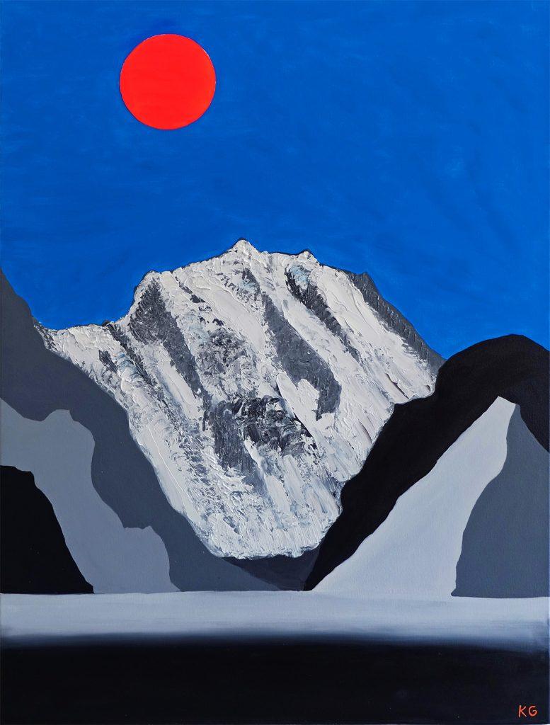 El Salkantay y la Luna arte contemporáneo Valencia Karlo Grados Óleo en lienzo exposición